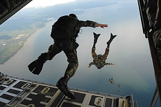 Parachuting -  Airmen of the United States Air Force, assigned to the 720th Special Tactics Group, conduct a free-fall parachute jump