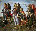 7 Francesco Botticini Three Archangels with Tobias. (135x154cm) c.1471 Uffizi, Florence.jpg