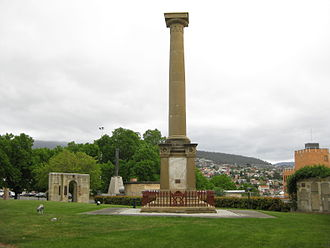 Colonial forces of Australia - A memorial erected by the 99th Regiment of Foot at Anglesea Barracks, Hobart to commemorate the soldiers of the regiment killed during the New Zealand Wars. This was the first war memorial built in Australia, and is the only monument built by British soldiers in Australia to commemorate their casualties.