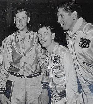 "Jimmy McNatt - AAU All-Americans Robert ""Ace"" Gruenig (left), Jimmy ""Scat"" McNatt (center) and Gordon ""Shorty"" Carpenter (right)."