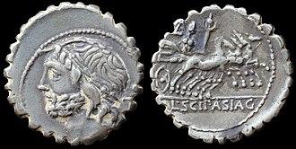 Lucius Cornelius Scipio Asiaticus (consul 83 BC) - O: laureate head of Jupiter
