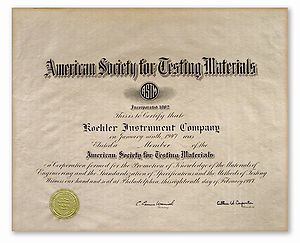 ASTM Certification of 1947