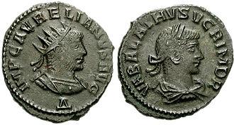 Vaballathus - Coinage bearing Vaballathus's and Aurelian's portraits.