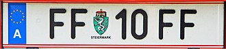 Vehicle registration plates of Austria - A FF plate from former Fürstenfeld district, with the lowest digits 10 and Styrian arms