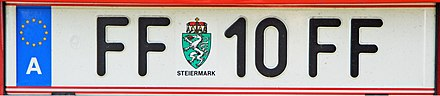 A FF plate from former Fürstenfeld district, with the lowest digits 10 and Styrian arms