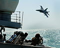 A Kuwaiti F18 Hornet Conducts a Simulated Air Attack on HMS St Albans During an Exercise in the Middle East MOD 45153522.jpg