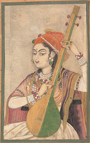 Tanpura - A lady playing the tanpura, ca. 1735
