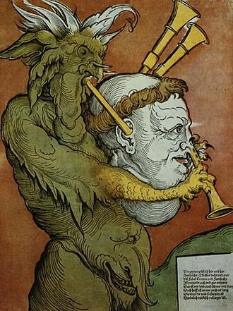 Anti-Protestantism - Luther as the Devil's Bagpipes by Eduard Schoen, circa 1535.