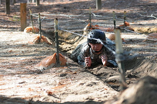 A Special Forces Assessment and Selection candidate conducts training at the Nasty Nick obstacle course Camp Mackall in Hoffman, N.C., September 2009 091009-A-GV060-075