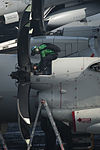 A U.S. Sailor performs maintenance on an E-2C Hawkeye aircraft assigned to Airborne Early Warning Squadron (VAW) 117 aboard the aircraft carrier USS Nimitz (CVN 68) in the Arabian Sea Aug. 7, 2013 130807-N-LP801-015.jpg