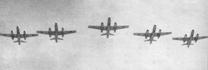 A formation of five brand-new EAF Il-28 bombers, seen at low level over Cairo during a parade in September 1956. As it seems the EAF Il-28s were initially not given serials, but wore code-letters, like E, F, N etc. instead.