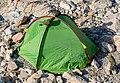A green tent attacked by kea, Mueller Hut, Aoraki - Mount Cook National Park, New Zealand.jpg