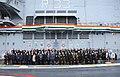 A group photo of all dignitaries of India and Russia on board INS Vikramaditya, at Sevmash Shipyard in Russia on November 16, 2013.jpg
