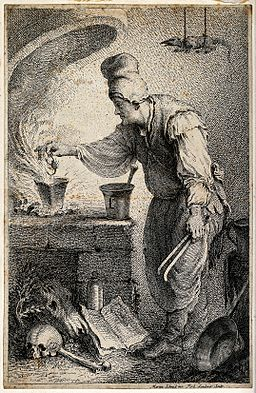 A witch placing a scorpion into a pot in order to make a pot Wellcome V0025566