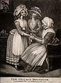 A woman doctor bandaging a young woman's hand. Mezzotint, 17 Wellcome V0016022.jpg