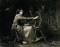 A young girl is sitting at a spinning wheel. Engraving by Fr Wellcome V0039573.jpg