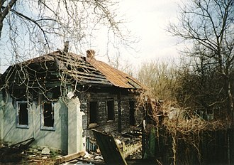 Effects of the Chernobyl disaster - An abandoned village near Pripyat, close to Chernobyl.