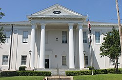 The Adams County Courthouse at 201 South Wall Street in Natchez was built in 1821 and enlarged in 1925.