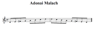 a visual representation of the Adona Malach scale D, E, F♯, G, A, B, C, D