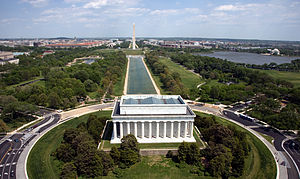 Aerial view of the National Mall in Washington...