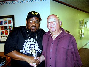 "Scottsdale Community College -  Afrika Bambaataa, the ""godfather of hip hop"" with SCC instructor Mark Kopenits after speaking to SCC DJ students in the Music Building."
