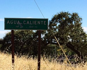 Fetters Hot Springs-Agua Caliente, California - Image: Agua Caliente city sign, facing south