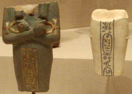 Fragmentary ushabtis of Akhenaten from his original tomb in Amarna, now in the Brooklyn Museum. Akhenaten TwoFragmentaryShabtis BrooklynMuseum.png