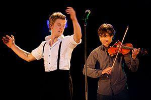 Alexander Rybak - Rybak and a dancer from Frikar, at a concert in Norway, September 2009