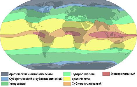 Климатические пояса Земли по