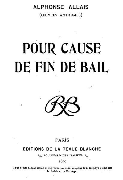 File:Allais - Pour cause de fin de bail.djvu