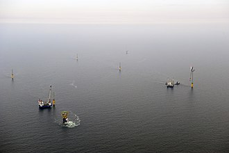 Alpha Ventus Offshore Wind Farm - Construction work at alpha ventus wind park (July 2009)