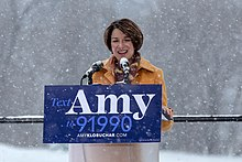 File:Senator Amy Klobuchar made her announcement to run for president in 2020 on a snowy day Sunday at Boom Island Park in Minneapolis, Minnesota. (46330784464) (cropped)