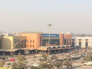 Anand Vihar Terminal railway station - Anand Vihar Terminal - Main Building as seen from Anand Vihar Metro station