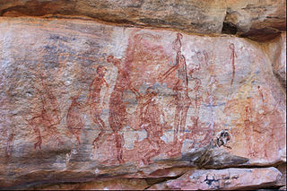 Ancient human figures in red