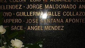 """Angel Mendez - Name of Sgt. Angel Mendez inscribed in """"El Monumento de la Recordación"""""""