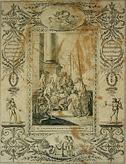 Title page (?) drawn on the occasion of a first communion, depicting Christ surrounded by children