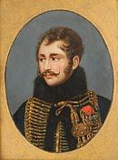 Portrait of Antoine Lasalle in hussar uniform with gold braid and black fur-lined jacket