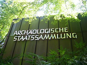 Bavarian State Archaeological Collection - A sign on the main building of the Bavarian State Archaeological Collection.