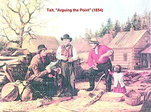 Arthur Fitzwilliam Tait - Americans arguing politics in 1854 while ignoring the farm chores.