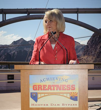 Brewer addressed at the Dedication of the Mike O'Callaghan-Pat Tillman Memorial Bridge in 2010 Arizona Governor Jan Brewer addressed at the Dedication of the Mike O'Callaghan-Pat Tillman Memorial Bridge in 2010.jpg