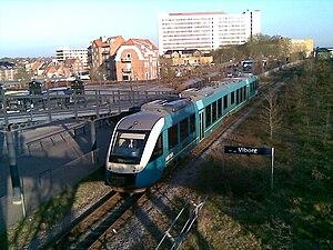 Langå-Struer Line - An Arriva LINT train near Viborg station