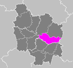 Location of Beaune in Bourgogne