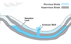 Geological strata giving rise to an Artesian well.