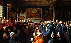 Jersey - An 1893 painting of the Assize d'Heritage by John St Helier Lander.