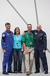 Astros Paolo Nespoli and André Kuipers with two tweetup organisers (7991266396).jpg
