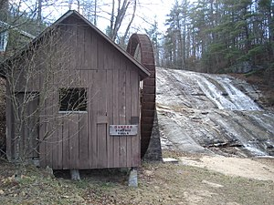 Moravian Falls, North Carolina - The waterfall and pumphouse at Moravian Falls
