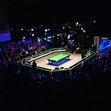 A view of a snooker arena from the stands
