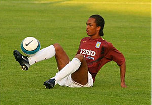 Nathan Delfouneso - Delfouneso warming up for Aston Villa in 2008.