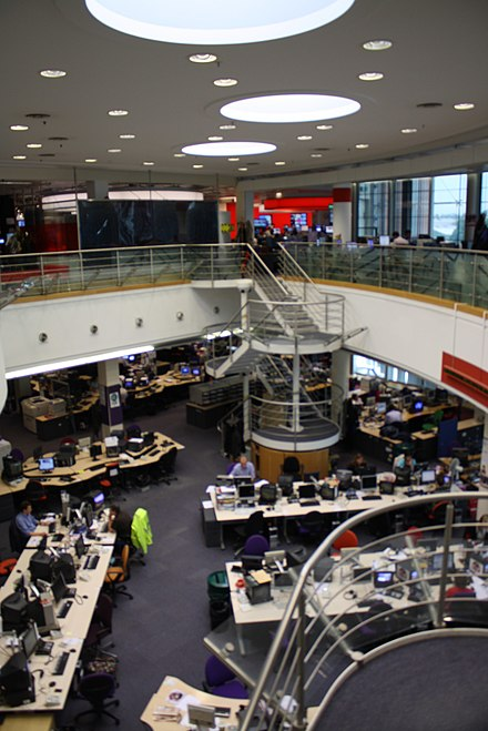 The combined newsroom for domestic television and radio was opened at Television Centre in West London in 1998. BBC Television Centre Newsroom KristynaM Flickr.jpg