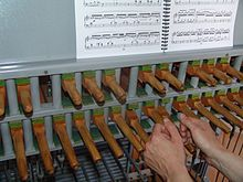 Carillon sheet music resting above a keyboard.